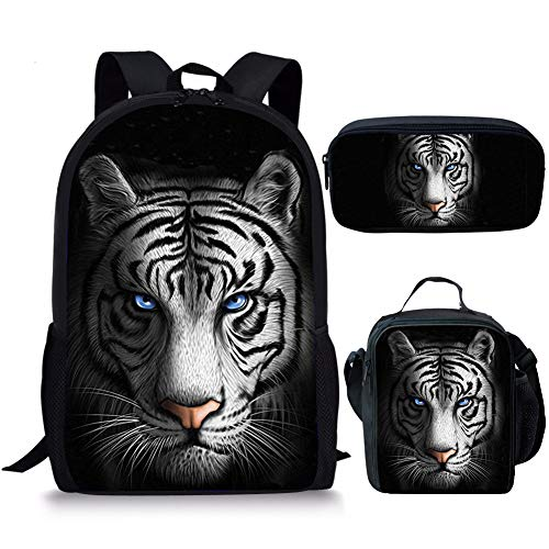 Nopersonality 3D Tiger Kids Backpack Rucksack Lightweight Small Primary Student School Bag and Lunch Bag Pencil Case Set for Boys Children