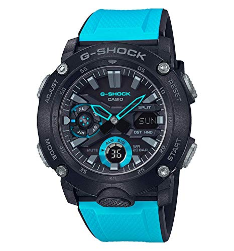 Casio G-SHOCK Orologio 20 BAR, Azzurro/Nero, Analogico - Digitale, Uomo, con Cinturino in Carbonio, GA-2000-1A2ER