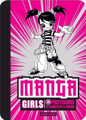 Manga Girls: 30 Postcards to Complete & Color