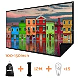 Double Layer Projector Screen 120 inch 16:9 Portable Projection Movie Screen 3D with No Light Transmission for Home Theater Outdoor Indoor Office with 15PCS Nails No Crease
