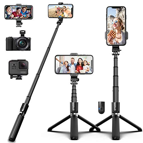 SYOSIN Selfie Stick Tripod, Extendable Aluminum Alloy Compact Phone Tripod with Remote 360°...