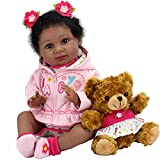 Aori Reborn Baby Dolls 22 Inch Realistic Black Reborn Dolls Lifelike Weighted African American Newborn Baby Girls with Brown Bear Plush Toy and Pink Clothes Accessories Gifts for Girls Age 3+