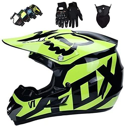 Set Casco Moto Bambini, Casco Motocross con Certificazione DOT/ECE, Casco Motociclista Integrale con Occhiali/Maschera/Guanti, per BMX MTB ATV Quad Bike Race - con Design Fox - Arancione Lucido