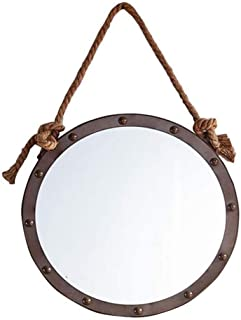 WYXIAN Round Large Metal Vanity Mirrors Retro Design with Rope Hanging for Bedroom Living Room Brown (Size : EASRSFEK)