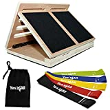 Yes4All Calf Stretcher Slant Board - Wooden Slant Board/Adjustable Incline Board 4 Incline Levels: 10, 20, 30 & 40 Degree and Resistance Bands Set Combo