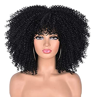 CC Hair Short Curly Wigs for Black Women Fluffy Curly Wig Heat Resistant High Temperature Synthetic Wig.