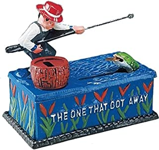 Bits and Pieces - Fishing Cast Iron Bank - Collectible Cast Iron Mechanical Bank
