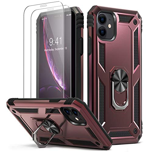 KUMEEK iPhone 11 Case | Military Grade Armor 15ft. Drop Tested Protective Case | 2 Pack Tempered Glass Screen Protector | Ring Magnetic Car Mount Kickstand for iPhone 11, WineRed
