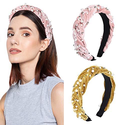 WELROG 2 PCs Perle Gepolstert Samt StirnbänderMode dicken Samt 90er Jahre Haarschmuck breites Stirnband für Frau und Mädchen Spanische Vintage Style Haarbänder (Ingwer gelb + Rosa)
