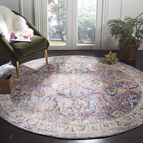Safavieh Bristol Collection BTL357P Boho Chic Oriental Distressed Area Rug, 7' x 7' Round, Lavender / Light Grey