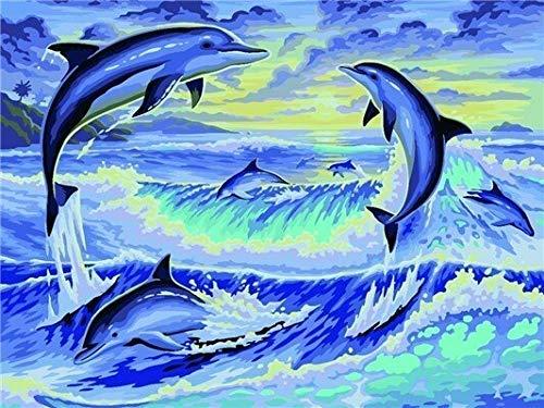 JIANGAA 5d Full Bohrer DIY Kunsthandwerk Bling_Dolphin Diamant Malerei Kits 40x50cm_Crystal Stickerei Kreuzstich Kunsthandwerk Wanddekor Geschenk