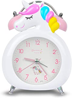 Korotus COLLECTION Unicorn Alarm Clock for Girls, Loud Bell and Button Night Light for Heavy Sleepers (White)
