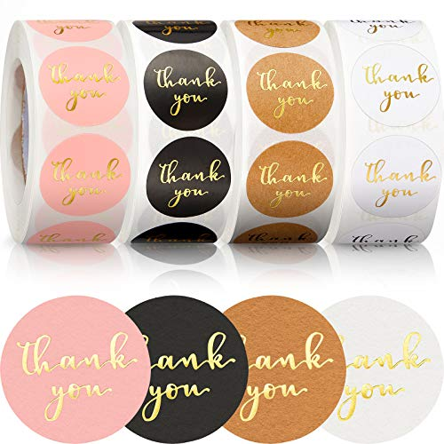 4 Rolls 2000 Pieces Thank You Label Stickers, 1 Inch Gold Foil Font Thank You Adhesive Sticker for Sealing Decorating Envelope Packaging Bag Box Card, 500 Labels Per Roll (Black, Pink, Natural, White)