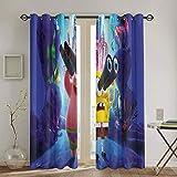 Cortinas opacas con ojales, diseño de Bob Esponja para habitaciones de niños, cortinas anchas de 139,7 x 160 cm