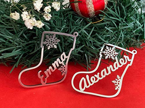 Weihnachts-Geschenkanhänger, Personalisierte Weihnachtsanhänger, Etiketten, Christbaumschmuck, Weihnachtsdekoration, Hängend Weihnachtsstrumpf mit Name Weihnachtsbaum, Schneeflocke Ornamente DIY