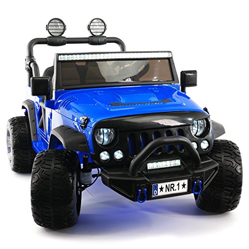 Moderno Kids Explorer 2 (Two) Seater 12V Power Children Ride-On Car Truck with R/C Parental Remote + EVA Rubber LED Wheels + Leather Seat + MP3 Music Player Bluetooth FM Radio + LED Lights (Blue)
