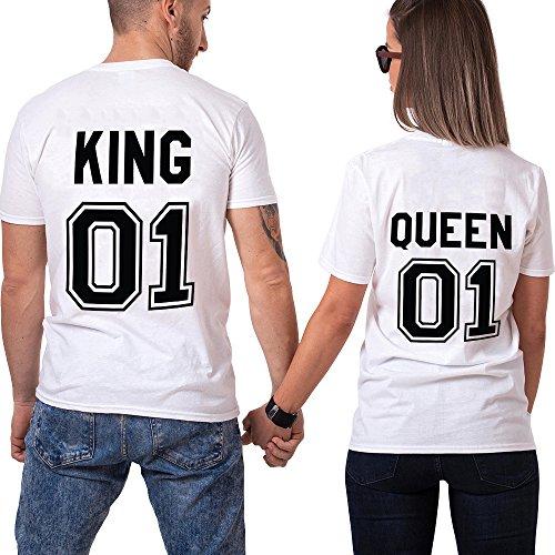 Pareja Camisetas King Queen T-Shirt 100% Algodón Shirts