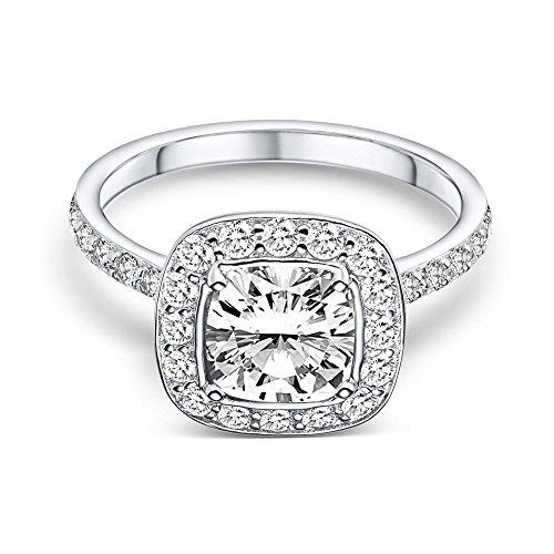 """Caja del anillo propuesta con """"I love you"""" grabado! Plata diamante Swarovski Zirconia Anillo de Ley como compromiso plata 925 Idea para un regalo de joyería de la novedad - mejor tener AM195-3 ss925zifa. Reino Unido"""