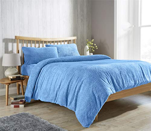Value Comfort Home Super Soft TEDDY BEAR Fur Sherpa Fleece Winter Warm Duvet Quilt Cover & Pillowcase/s Bedding Bed Linen Set   Choice of 11 Colours & All Single, Light Blue