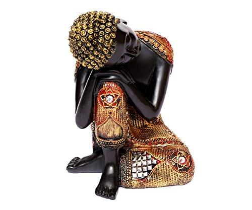 Brillibrum Design Thai Buddha Schwarz-Goldfarbene Buddha-Figur 16 cm Buddha ruhend sitzend Meditierend Dekofigur Feng Shui aus Polyresin Thai-Buddha schlafend (Variante 1)