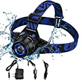 xutu Headlamp Headlamp Super Bright <span class='highlight'>LED</span> <span class='highlight'>Headlights</span> USB Rechargeable IPX4 Waterproof Flashlight with Zoomable Work Light, Hard Hat Light For Camping, Hiking, Outdoors Blue