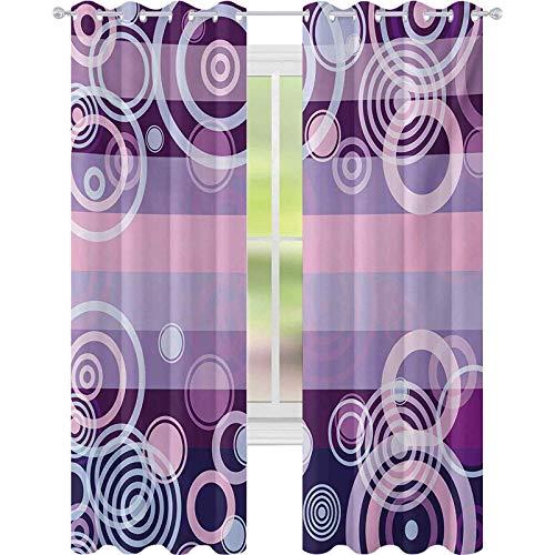Termiska isolerade gardiner, cirklar runda djärva kanter i mitten av 70-talet 80-talet vintage design, B 52 x L95 gardiner för babyrum, magenta het rosa vit