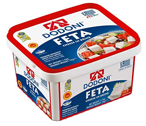 Dodoni Feta Schafkäse - 1x 1kg - Fetakäse griechischer Feta Schafskäse in Salzlake Premium Qualität Superior Award 2018 43% Fett i.Tr. aus Griechenland 70% Schaf 30% Ziege Plastikbehälter