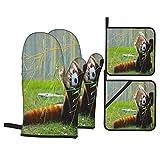 Juego de 4 Guantes de Horno y agarraderas,Lindo Panda Rojo en el Campo Jugando con Ramas de bambú nativas de Las montañas del Himalaya,Utilizado para cocinar,Hornear y Asar a la Parrilla