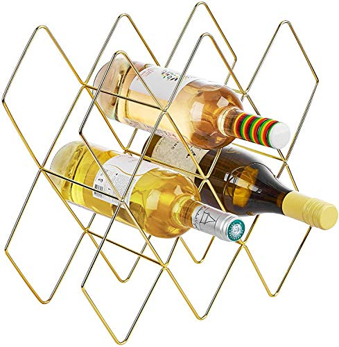 GLYYR Weinregal Gold Weinregal, Drahtwein-Rack, Goldwein-Rack-Freistehend, Goldwein-Rack-Regal, Weinregal Messing, Weinregale Arbeitsplatte, 8 Flasche Weinhalter, Weinflaschenhalter Gold, Perfekt für