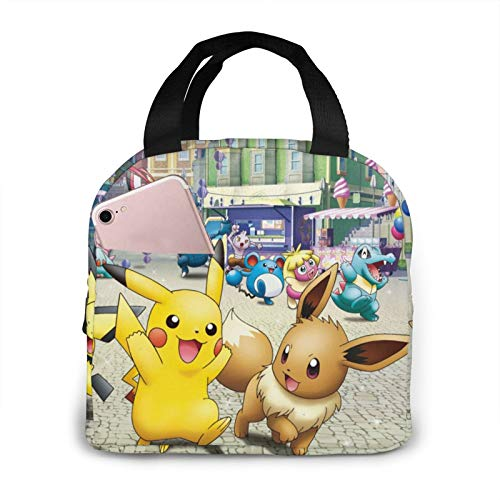 Portable Po-Ké-Mon Lunch Bag Handbag Travel Picnic Work Insulated Lunch Bag Waterproof Large Capacity