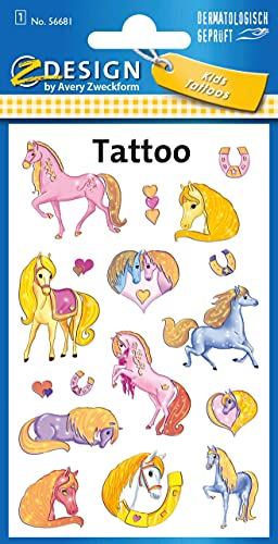 AVERY Zweckform 56681 Tattoo Kinder 17 Stück (Temporäre Tattoos Pferde, Kinder Tattoo wasserfest, Klebetattoos, Kindergeburtstag, Mitgebsel, Partyspiele Preise, Kinder zum Spielen, Tattoo Mädchen)