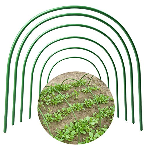 NMFIN Greenhouse Hoops,6 PCS Green House for Plants Outdoor Cover Support,Long Steel with Plastic Coated Hoops Frame for Garden Fabric, Portable Plant Support Garden Stake(18.9x18.9)