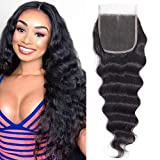 Brazilian Loose Deep Wave Lace Closure 4x4 Free Part 18inch 100% Virgin Human Hair Closure Pre-Plucked Hairline with Baby Hair Nature Black