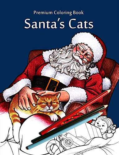 Santa's Cats: Christmas Adult Coloring Book