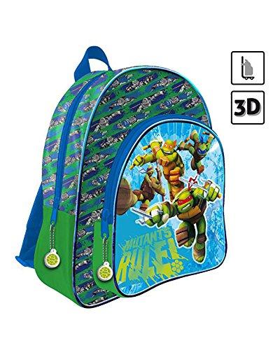 Astro Europa Ninja Mochila 2 Cremalleras 3D 41 cms. a Carro Tortugas  Color Verde  AS9898