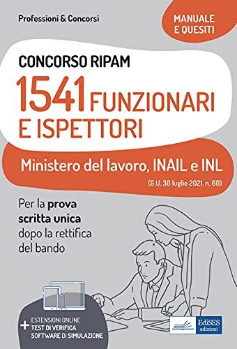 Concorso RIPAM 1541 funzionari ministero lavoro, INAIL...