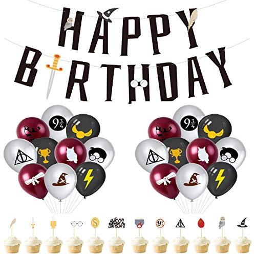 Zauberer Geburtstag Party Deko,-YUESEN Harry Potter inspiriert Cupcake Topper Magische Dekoration Ballon Kindergeburtstag Banner für Geburtstagsdeko Themenparty, 33 Stück