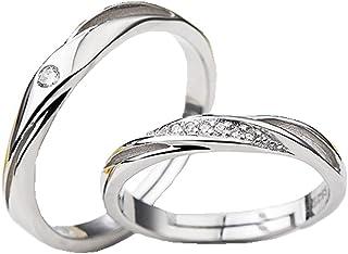 طقم خواتم زفاف من الفضة الإسترلينية 925 من تيدوو جويلري للنساء والرجال زوج واحد من خواتم الخطوبة مجموعة المجوهرات