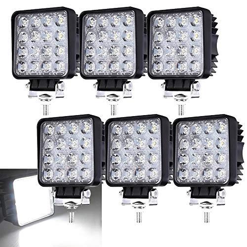 Lot de 6 Projecteurs de Travail LED 48W 6500K 4320lm Feux de Route SUV UTV ATV Blanc Froid