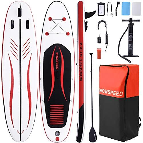 OneV FT Tavola da Surf 320x84x15cm 135kg Tavole da SUP, Tavola Gonfiabile, con Pagaia Zaino Pompa, capacità di Carico di 130 kg, Rosso Nero