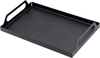 JPCRAFT Contemporary Metal Tray Organizer with Handles for Bathroom Storage Kitchen Coffee Cups, Black, 11.8 by 7.87-inch