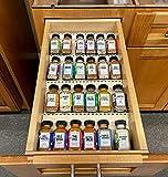 Natural Wood Kitchen Spice Drawer Organizer - Wooden...