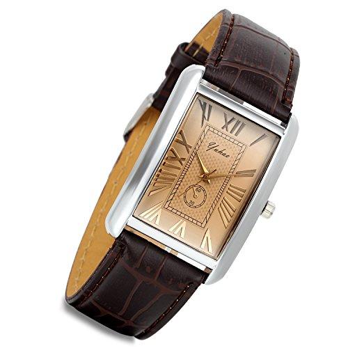 Lancardo - Orologio quadrato da uomo in pelle marrone, stile vintage, stile coccodrillo, stile retrò, stile vintage, colore: argento