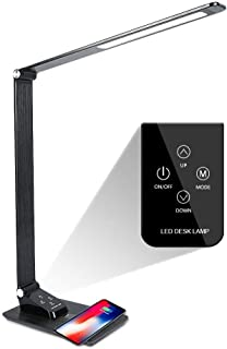 Dimmable LED Desk Lamp, with Wireless Charging&USB Charging Port,Touch Control,Table lamp with 3 Modes and5 Brightness Levels for Bedroom/Bedside/Office/Study/Working/Reading Book