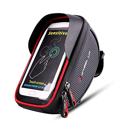 JIAYANLH Bolsa Bicicleta Manillar Impermeable para Ciclista Ciclismo, Soporte Telefono Móvil,con Pantalla Táctil para Teléfono Inteligente por Debajo de 6 Pulgadas (Red)