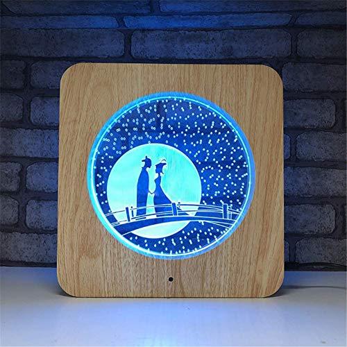 Illusion LED Lampe 3D Cadre photo en bois acrylique avec illumination d'optique en couleur 7 couleurs Veilleuse LED avec télécommande programmée et écran tactile pour table de bureau avec câble USB et