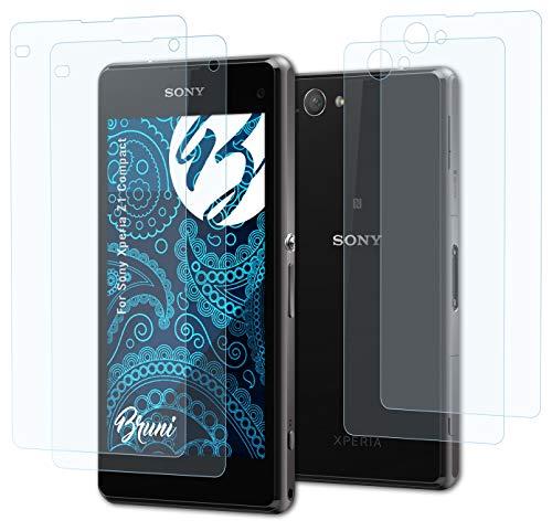 Bruni Schutzfolie kompatibel mit Sony Xperia Z1 Compact Folie, glasklare Bildschirmschutzfolie (2er Set)