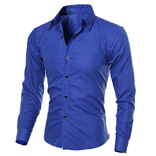 Hombre Camisa Slim Fit Modello STRIR Camisa algodon Hombre, Manga Larga, Slim Fit, Camisa Elástica Casual/Formal para Hombre (Azul, M)