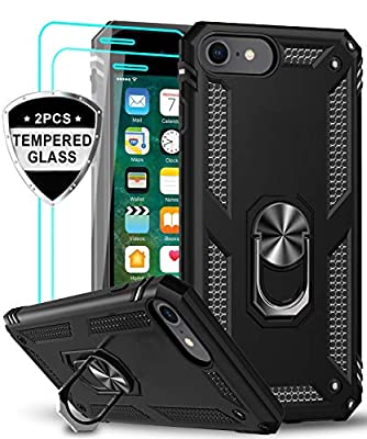 LeYi iPhone SE 2020 Case with Tempered Glass Screen Protector [2 Pack], [Military Grade] Protective Phone Case with Magnetic Car Mount Ring Kickstand for iPhone SE 2nd Generation (2020), Black