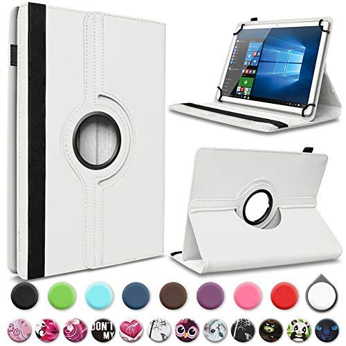 UC-Express Tablet Tasche kompatibel für Archos Access 101 3G Hülle Schutzhülle Cover 360° Drehbar 10.1 Zoll Standfunktion, Farbe:Weiss